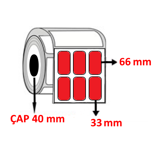 Kırmızı Renkli 33 mm x 66 mm YY3 LÜ Barkod Etiketi ÇAP 40 mm ( 6 Rulo )