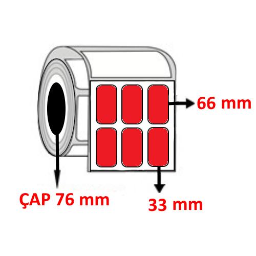 Kırmızı Renkli 33 mm x 66 mm YY3 LÜ Barkod Etiketi ÇAP 76 mm ( 6 Rulo )
