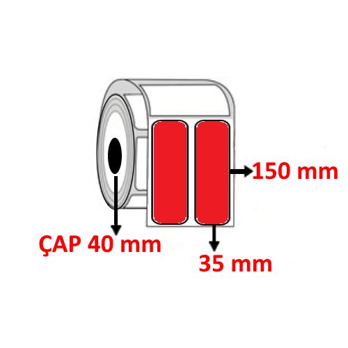 Kırmızı Renkli 35 mm x 150 mm YY2 Lİ Barkod Etiketi ÇAP 40 mm ( 6 Rulo )