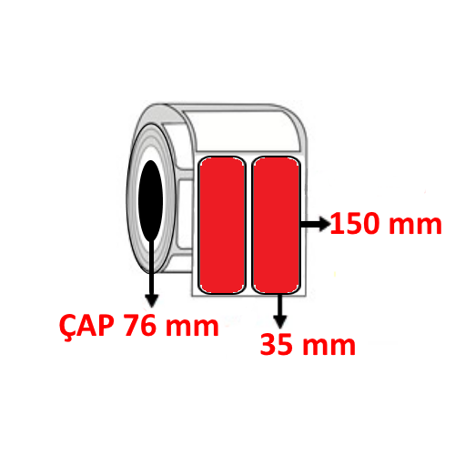 Kırmızı Renkli 35 mm x 150 mm YY2 Lİ Barkod Etiketi ÇAP 76 mm ( 6 Rulo )