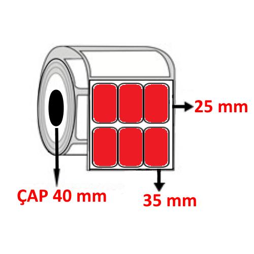 Kırmızı Renkli 35 mm x 25 mm YY3 LÜ Barkod Etiketi ÇAP 40 mm ( 6 Rulo ) 36.000 ADET