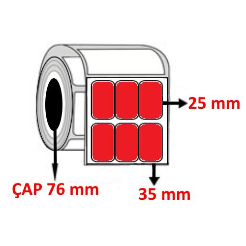 Kırmızı Renkli 35 mm x 25 mm YY3 LÜ Barkod Etiketi ÇAP 76 mm ( 6 Rulo )