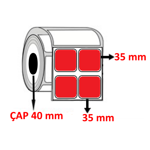 Kırmızı Renkli 35 mm x 35 mm YY2 Lİ Barkod Etiketi ÇAP 40 mm ( 6 Rulo )