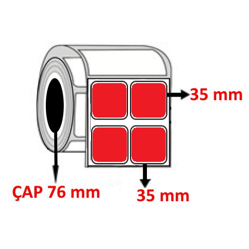 Kırmızı Renkli 35 mm x 35 mm YY2 Lİ Barkod Etiketi ÇAP 76 mm ( 6 Rulo )