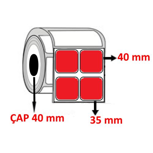 Kırmızı Renkli 35 mm x 40 mm YY2 Lİ Barkod Etiketi ÇAP 40 mm ( 6 Rulo )
