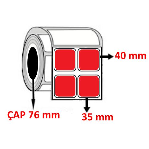 Kırmızı Renkli 35 mm x 40 mm YY2 Lİ Barkod Etiketi ÇAP 76 mm ( 6 Rulo ) 36.000 ADET
