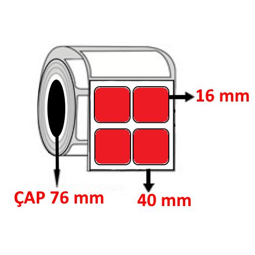 Kırmızı Renkli 40 mm x 16 mm YY2 Lİ Barkod Etiketi ÇAP 76 mm ( 6 Rulo )