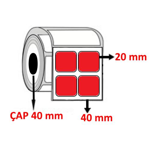 Kırmızı Renkli 40 mm x 20 mm YY2 Lİ Barkod Etiketi ÇAP 40 mm ( 6 Rulo ) 24.000 ADET
