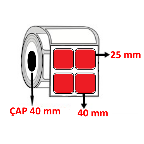 Kırmızı Renkli 40 mm x 25 mm YY2 Lİ Barkod Etiketi ÇAP 40 mm ( 6 Rulo )