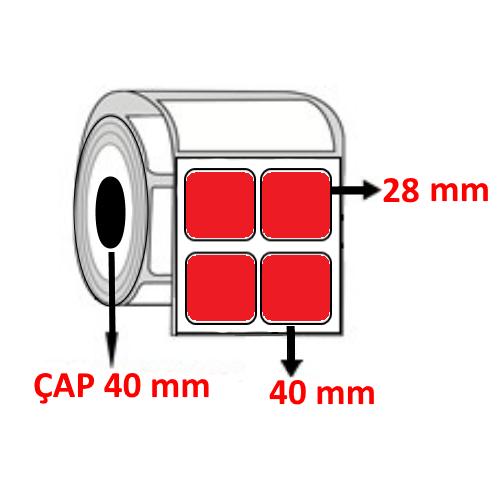 Kırmızı Renkli 40 mm x 28 mm YY2 Lİ Barkod Etiketi ÇAP 40 mm ( 6 Rulo )