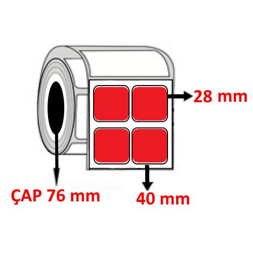 Kırmızı Renkli 40 mm x 28 mm YY2 Lİ Barkod Etiketi ÇAP 76 mm ( 6 Rulo )