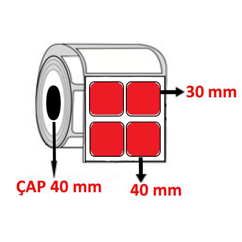 Kırmızı Renkli 40 mm x 30 mm YY2 Lİ Barkod Etiketi ÇAP 40 mm ( 6 Rulo )