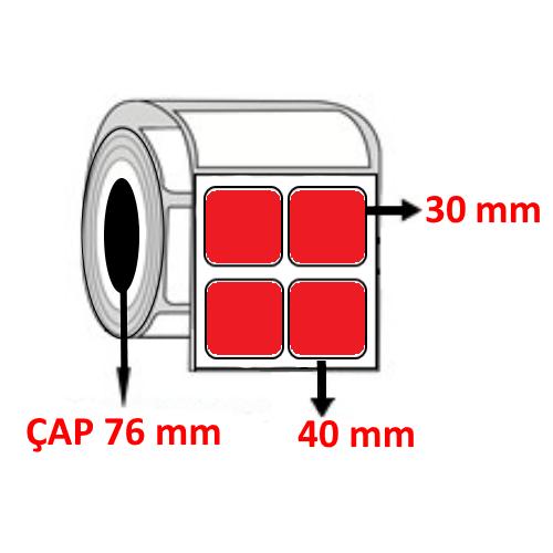 Kırmızı Renkli 40 mm x 30 mm YY2 Lİ Barkod Etiketi ÇAP 76 mm ( 6 Rulo ) 54.000 ADET