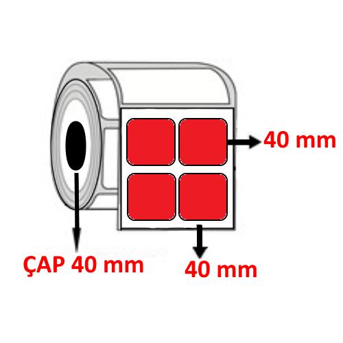 Kırmızı Renkli 40 mm x 40 mm YY2 Lİ Barkod Etiketi ÇAP 40 mm ( 6 Rulo )