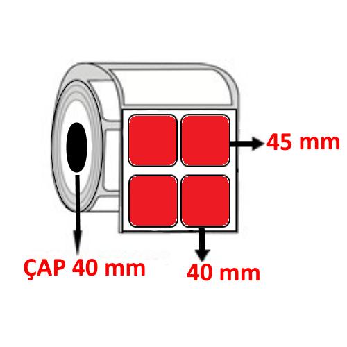 Kırmızı Renkli 40 mm x 45 mm YY2 Lİ Barkod Etiketi ÇAP 40 mm ( 6 Rulo ) 12.000 ADET