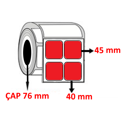 Kırmızı Renkli 40 mm x 45 mm YY2 Lİ Barkod Etiketi ÇAP 76 mm ( 6 Rulo )