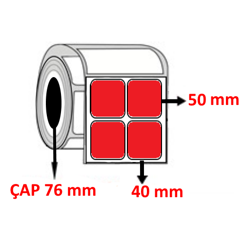 Kırmızı Renkli 40 mm x 50 mm YY2 Lİ Barkod Etiketi ÇAP 76 mm ( 6 Rulo )