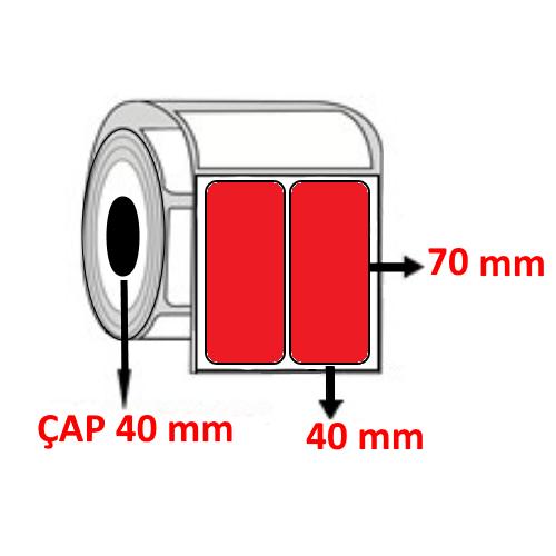 Kırmızı Renkli 40 mm x 70 mm YY2 Lİ Barkod Etiketi ÇAP 40 mm ( 6 Rulo ) 6.000 ADET