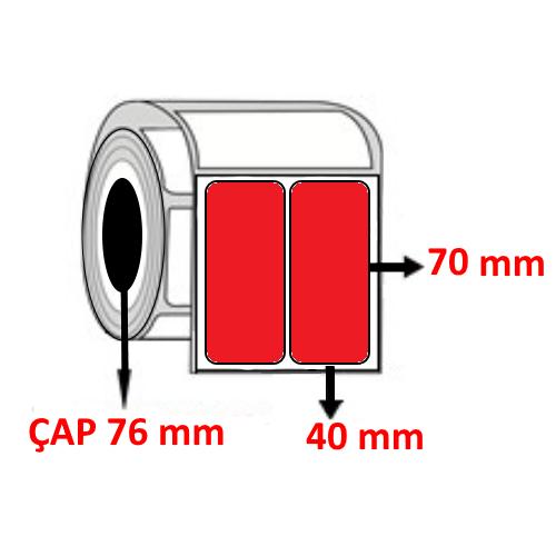 Kırmızı Renkli 40 mm x 70 mm YY2 Lİ Barkod Etiketi ÇAP 76 mm ( 6 Rulo ) 24.000 ADET