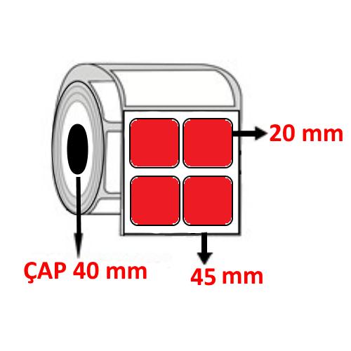 Kırmızı Renkli 45 mm x 20 mm YY2 Lİ Barkod Etiketi ÇAP 40 mm ( 6 Rulo ) 24.000 ADET