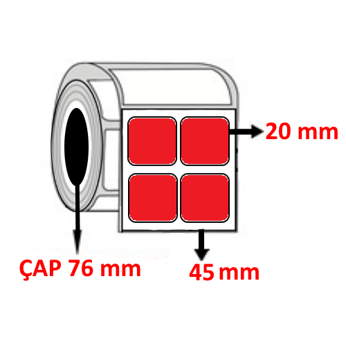 Kırmızı Renkli 45 mm x 20 mm YY2 Lİ Barkod Etiketi ÇAP 76 mm ( 6 Rulo )
