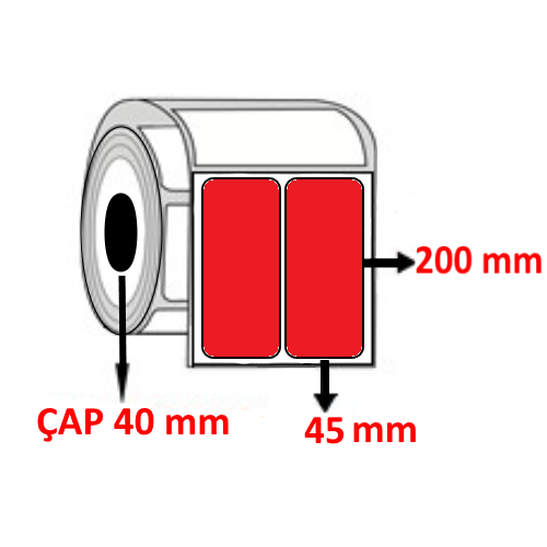 Kırmızı Renkli 45 mm x 200 mm YY2 Lİ Barkod Etiketi ÇAP 40 mm ( 6 Rulo )
