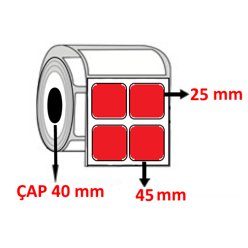Kırmızı Renkli 45 mm x 25 mm YY2 Lİ Barkod Etiketi ÇAP 40 mm ( 6 Rulo )