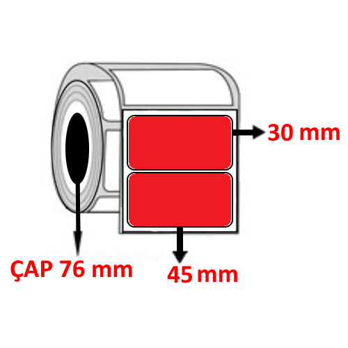 Kırmızı Renkli 45 mm x 30 mm Barkod Etiketi ÇAP 76 mm ( 6 Rulo ) 27.000 ADET
