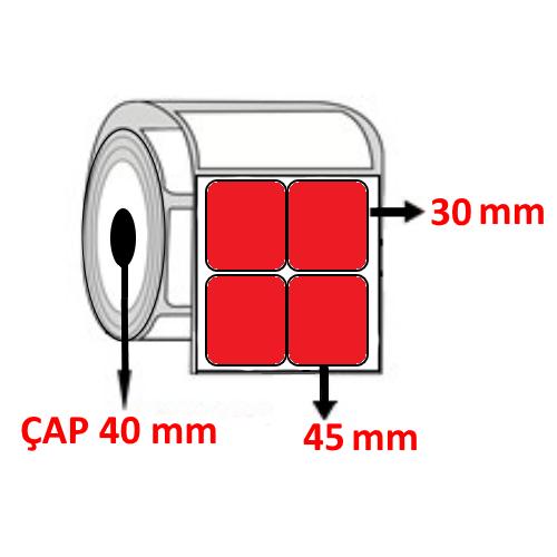 Kırmızı Renkli 45 mm x 30 mm YY2 Lİ Barkod Etiketi ÇAP 40 mm ( 6 Rulo ) 18.000 ADET