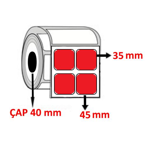 Kırmızı Renkli 45 mm x 35 mm YY2 Lİ Barkod Etiketi ÇAP 40 mm ( 6 Rulo ) 12.000 ADET