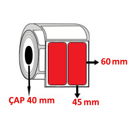 Kırmızı Renkli 45 mm x 60 mm YY2 Lİ Barkod Etiketi ÇAP 40 mm ( 6 Rulo ) 9.000 ADET