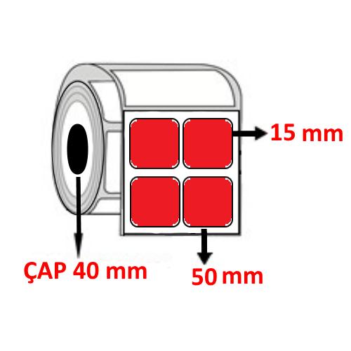 Kırmızı Renkli 50 mm x 15 mm YY2 Lİ Barkod Etiketi ÇAP 40 mm ( 6 Rulo )