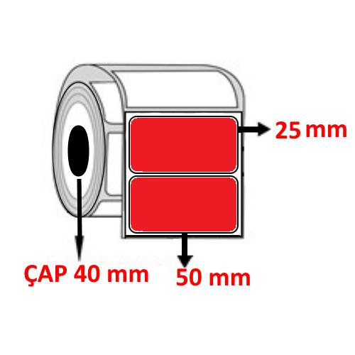 Kırmızı Renkli 50 mm x 25 mm Barkod Etiketi ÇAP 40 mm ( 6 Rulo )