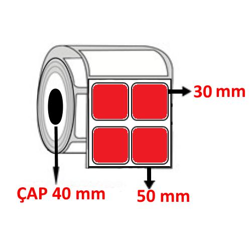 Kırmızı Renkli 50 mm x 30 mm YY2 Lİ Barkod Etiketi ÇAP 40 mm ( 6 Rulo )