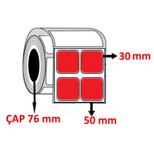 Kırmızı Renkli 50 mm x 30 mm YY2 Lİ Barkod Etiketi ÇAP 76 mm ( 6 Rulo ) 54.000 ADET