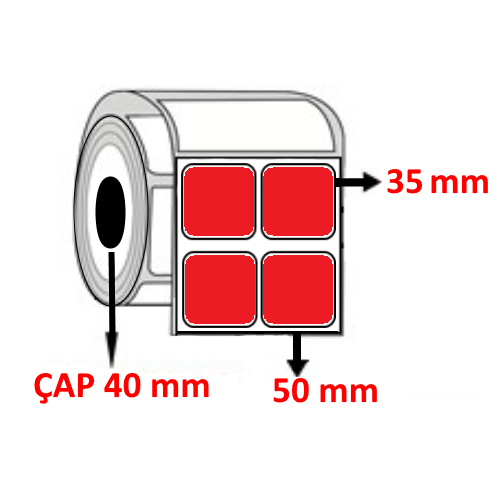 Kırmızı Renkli 50 mm x 35 mm YY2 Lİ Barkod Etiketi ÇAP 40 mm ( 6 Rulo )