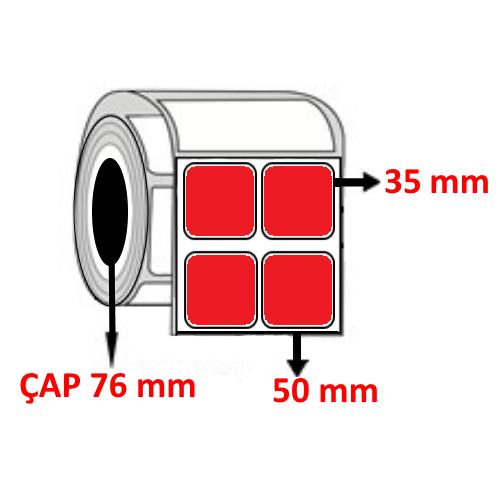 Kırmızı Renkli 50 mm x 35 mm YY2 Lİ Barkod Etiketi ÇAP 76 mm ( 6 Rulo ) 60.000 ADET
