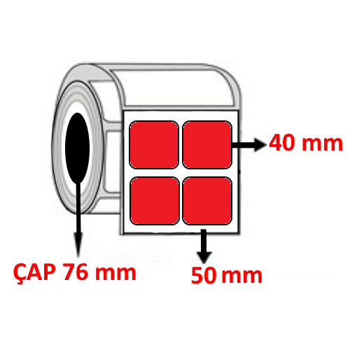 Kırmızı Renkli 50 mm x 40 mm YY2 Lİ Barkod Etiketi ÇAP 76 mm ( 6 Rulo )