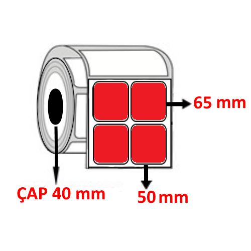 Kırmızı Renkli 50 mm x 65 mm YY2 Lİ Barkod Etiketi ÇAP 40 mm ( 6 Rulo ) 9.000 ADET