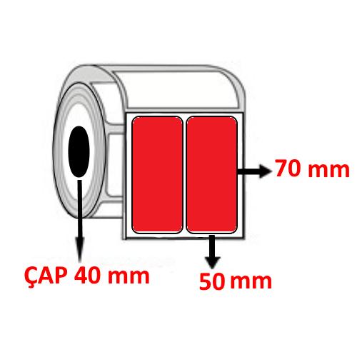 Kırmızı Renkli 50 mm x 70 mm YY2 Lİ Barkod Etiketi ÇAP 40 mm ( 6 Rulo )