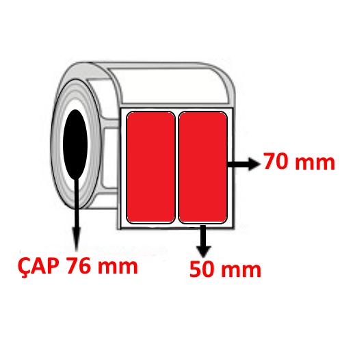 Kırmızı Renkli 50 mm x 70 mm YY2 Lİ Barkod Etiketi ÇAP 76 mm ( 6 Rulo )