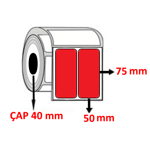 Kırmızı Renkli 50 mm x 75 mm YY2 Lİ Barkod Etiketi ÇAP 40 mm ( 6 Rulo ) 6.000 ADET