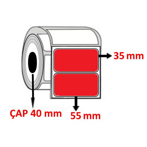 Kırmızı Renkli 55 mm x 35 mm Barkod Etiketi ÇAP 40 mm ( 6 Rulo ) 9.000  ADET