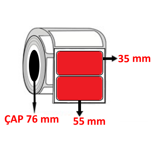 Kırmızı Renkli 55 mm x 35 mm Barkod Etiketi ÇAP 76 mm ( 6 Rulo ) 27.000 ADET