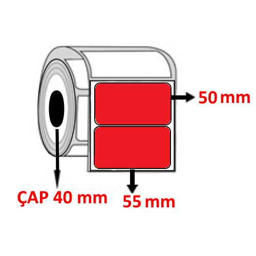 Kırmızı Renkli 55 mm x 50 mm Barkod Etiketi ÇAP 40 mm ( 6 Rulo )