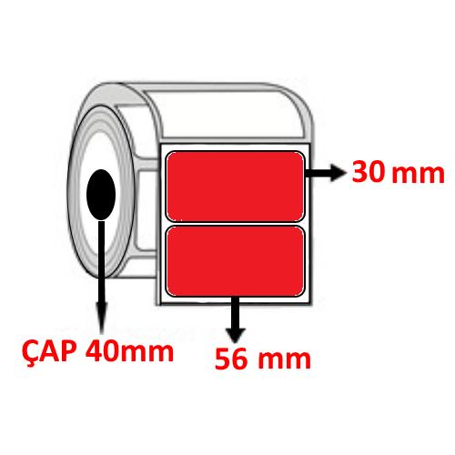 Kırmızı Renkli 56 mm x 30 mm Barkod Etiketi ÇAP 40 mm ( 6 Rulo )