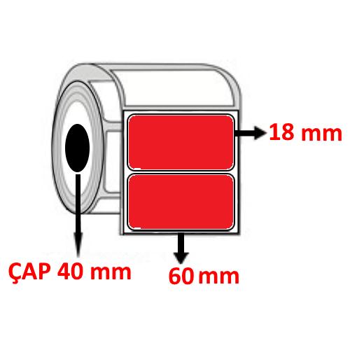 Kırmızı Renkli 60 mm x 18 mm Barkod Etiketi ÇAP 40 mm ( 6 Rulo )