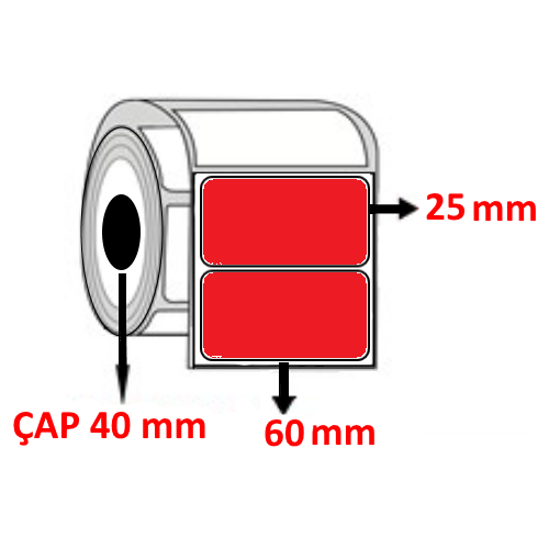 Kırmızı Renkli 60 mm x 25 mm Barkod Etiketi ÇAP 40 mm ( 6 Rulo ) 12.000  ADET