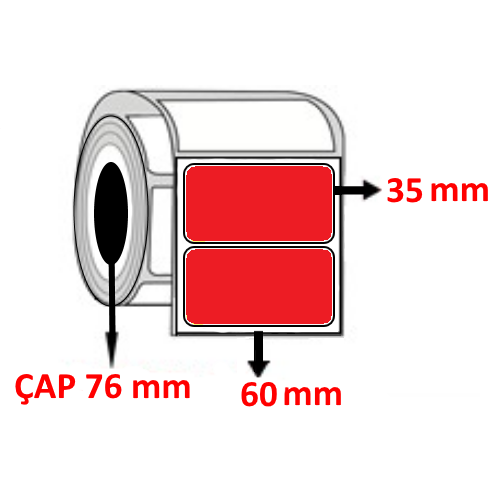 Kırmızı Renkli 60 mm x 35 mm Barkod Etiketi ÇAP 76 mm ( 6 Rulo ) 27.000 ADET