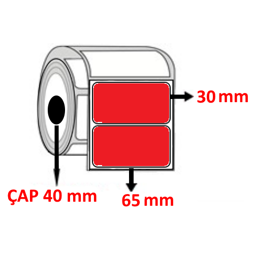 Kırmızı Renkli 65 mm x 30 mm Barkod Etiketi ÇAP 40 mm ( 6 Rulo ) 10.500  ADET